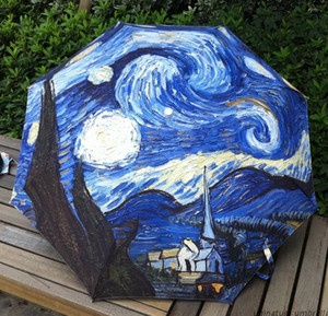 Umbrella Big Folding Exquisite Classic Umbrella Van Gogh stars in the sky oil painting anti-uv umbrella personalized umbrella
