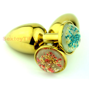 Wholesale gold sex jewelry resale online - Gold Anal Plug Golden Metal Anus Beads Butt Dildo Massager Red Blue Crystal Star Color Colorful Jewelry Base Small Large Fetish Sex Toys