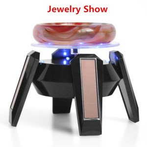 Wholesale Best black and White Jewelry Stand Phone Rotating Display shelf Turn Table with LED Light Jewelry holder