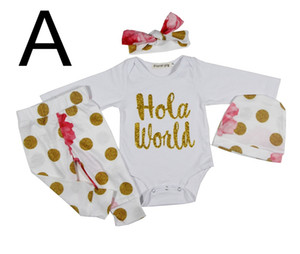 Wholesale ins xmas holloween infant romper pc set baby quot Hola World quot Gold Letter print white romper Boys girls Gold Dot pp pants Headband Hats