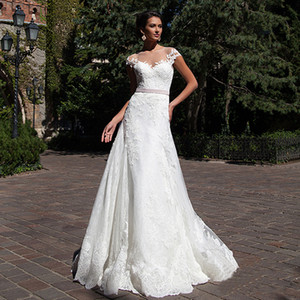 Scoop Neckline Applique See Through Lace and Tulle Sheath Wedding Dress Illusion Back with Pink Sash Bridal Dress vestidos boda