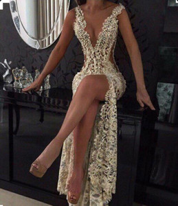 Wholesale 2019 Champagne Sexy Plunging V Neck Tight -High Split Evening Dresses Full Lace Side Cutaway Backless Prom Dresses With Beading BA2786