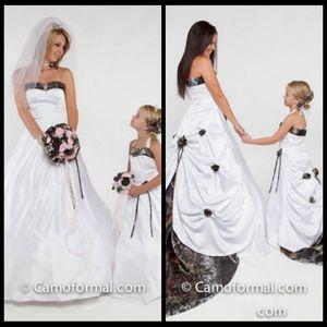 Halter A Line Camo Flower Girls Dresses Chapel Train Draped Formal Girls Party Gowns Handmade Flowers Adorned Toddler 2016 Wedding Dresses
