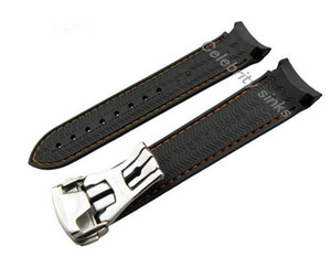 Wholesale 22 mm mm buckle new line of high end black and orange silicone strap waterproof dive strap with silver buckle for Omega watch