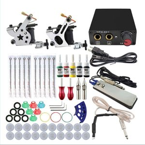Wholesale Complete Tattoo Gun Kits Machines Guns Colors Inks Sets Pieces Needles Power Supply Tips Grips Tattoo Guns Kits for beginner