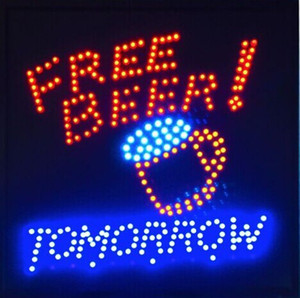 2016 direct selling custom 19X19 inch led sign beer bar pub Ultra Bright Tomorrow Free Beer bar drink pub led neon sign Wholesale
