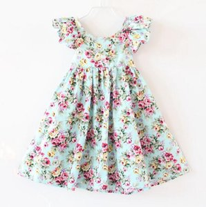 Wholesale 2019 New Girls Dresses Children Cotton Printed Floral Puff Sleeve Dresses Sweet Casual Girls Holiday Beach Dress kids clothes