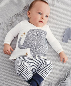 Wholesale baby clothes elephants boys resale online - Baby Outfits Child Clothes Kids Clothing Baby Boys Girls Elephant kid T Shirt Kid Striped Long Trousers Children Set Kids K7460