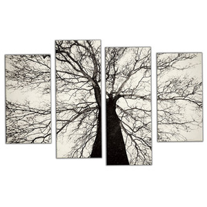 Amosi Art-4 Pieces Modern Paintings Black and White Winter Tree Oil Painting Spray Pain Art Home Wall Decoration with Wooden Framed