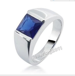 Wholesale antiques jewellery for sale - Group buy Brand Ne Sz Jewellery Antique Men s Silver Princess Cut Sapphire Wedding Ring for love gift