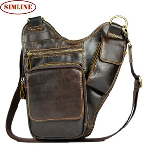 Wholesale New Vintage Fashion Casual Genuine Oil Wax Leather Cowhide Men Chest Bag Shoulder Messenger Cross Body Bag Bags Waist Pack Man