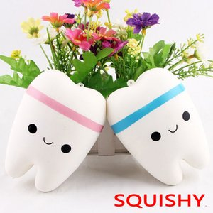 Wholesale Novelty Squishy tooth Slow Rising Kawaii cm Soft Squeeze Cute Cell Phone Strap Toy gift Stress Toys for children Decompression toys