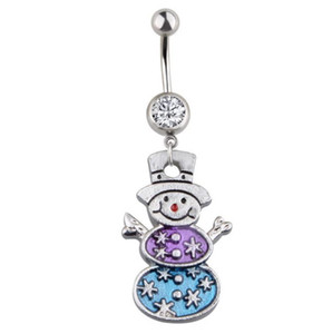 New Fashion Design Snowman Charm Belly Navel Ring Body Jewelry Christmas Jewelry For Women on Sale