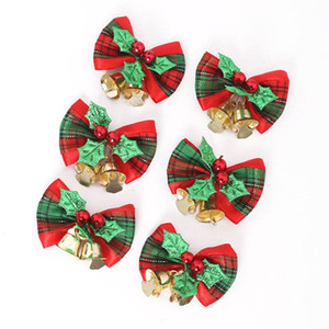 Wholesale Scotland Bowknot Jingle Bells Christmas Tree Ornaments Graland Wreath Home Party Bell Merry Xmas Decoration Adornos Navidad
