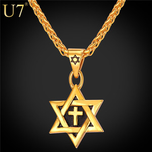 Wholesale unique Hot Magen Star of David Pendant Cross Necklace Women Chain K Gold plated Men Stainless Steel Israel Jewish Necklace P819