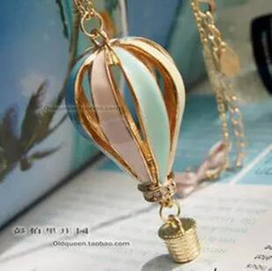 Wholesale Colorful Hot Air Balloon Rhinestone Chains Long Sweater Chain Pendant Charm Necklace Fashion Personalized Jewelry