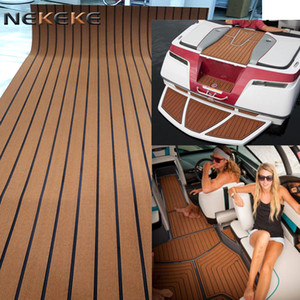 Wholesale 2017 Hot sales Can provide customized services Light brown black stripe marine eva foam boat yacht deck pad sheet With strong M adhesive