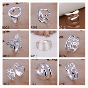 plated sterling silver ring 10 pieces a lot mixed style EMR1,brand new burst models fashion 925 silver plate ring