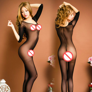 Wholesale New Sexy Women Open Crotch Body stockings round Neck Long sleeve Bodystocking Body Pantyhose Body Cocoon Black Sexy Bodysuit Sleepwear pjs