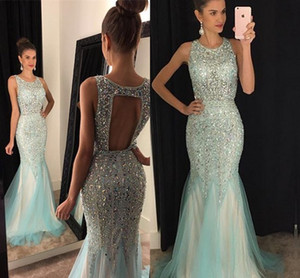 Wholesale Major Beading Girls Pageant Dresses Hollow Back Crystals Sequins Mermaid Evening Gowns Jewel Tulle Sweep Train Sparkline Prom Dress