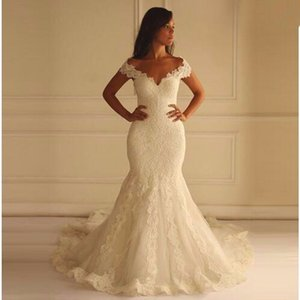 2018 Cap Sleeve V-neck Lace Mermaid Wedding Dresses Chapel Train Zipper Back Tulle Bridal Wedding Gowns on Sale