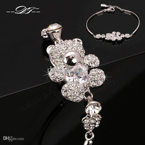 Wholesale Cute Teddy Bear CZ Diamond Crystal Charm Bracelets Bangles Platinum Plated Fashion Jewelry For Women Imitation Crystal DFH069