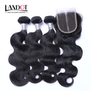 ingrosso trama dei capelli brasiliani-Top Chiusure in pizzo con bundle Brazilian Virgin Hair Weaves Malaysian Indian Peruvian Cambrodian Brazillian Braballian Body Wave Wave Remy Capelli di capelli umani