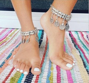 Wholesale 2016 Fashion Gold Silver Gypsy Antique Silver Turkish Coin Anklet Ankle Bracelet Beach Foot Jewelry Ethnic Tribal Festival