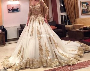 Arabic V-Neck Two Pieces Long Sleeve Evening Dresses Gold Appliques with Blink Sequins 2019 Amazing Prom Dresses Formal Maxi Gowns on Sale