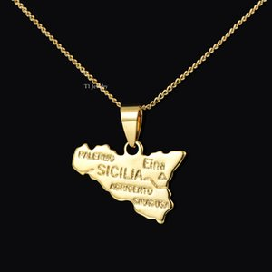 Wholesale Italy Copper Plated 18K Golden Country Map Theme Sicily map pendant for Necklace Bracelets Women Shinning Accessories