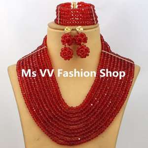 Wholesale 2019 jewelry cheap red African Wedding Jewelry Sets rows Dubai Gold Plated Bridal Crystal Beads Jewelry Set