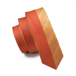 JASON & VOGUE Brand Silk Neck Tie For Men Orange Yellow Striped Corbatas 5.5cm Slim Corbatas Social Event Wedding Dress Suit Ties E-253
