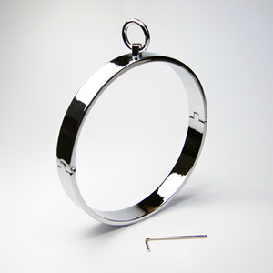 Wholesale Newest Unisex Stainless Steel Neck Ring Collar Restraint Chastity Pins Locking Sex Games BDSM Toy pc