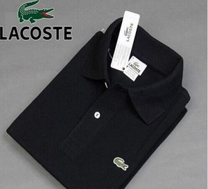 New Fashion Men Crocodile embroidery Polo Shirt Solid Color Slim Fit Polo Men short Sleeve Mercerized Casual Polos Shirt Mens S-3XL