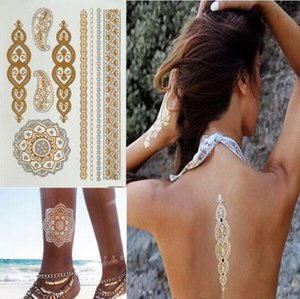 Wholesale sex body tattoo resale online - Fashion Sexy Metalic Gold Tatoo Temporary Flash Tattoos Sex Products Henna Metal Bling Body Paint Stickers Tats Tattoo Sticker cm