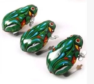 Clockwork tin frog jumping frog children's toys classic baby after 80 nostalgic retro hot wholesale supply on Sale