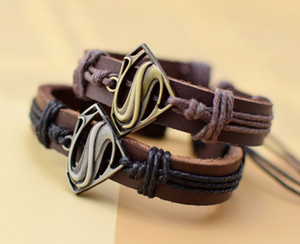 Wholesale A new leather bracelet bracelet on behalf of film and television animation Superman wolf two new fashion personality leather jewelry jewelry