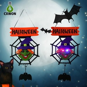 Wholesale Halloween door hang lamp Spider web decoration lights cloth holiday party noverty happy lamp pumpkin rabit witch spider ghost shapes