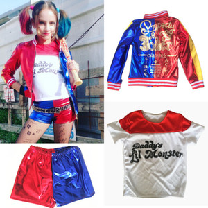 Wholesale Kid s Suicide Squad Harley Quinn Cosplay Costume Outfit Full Set Halloween Children Christmas Gift Jacket