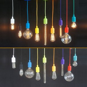 Wholesale DIY Personality Colorful Silicone braided rope single head pendant light modern brief decoration bar cord E27 lamp