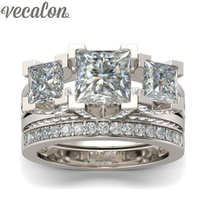 Vecalon Jewelry Engagement ring Princess cut Three-stone Simulated diamond Cz 925 Sterling Silver wedding Band ring for women on Sale