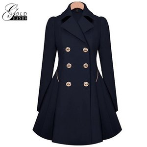 Wholesale Gold Hands Women Winter Trench Coat Long Style Overcoat Female Windbreaker Slim Double breasted Outerwear Jacket Trench Clothing