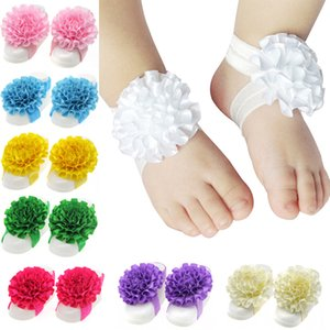 Wholesale Baby Girl Barefoot Sandals Folds Ribbon Flowers Socks Cover Barefoot Foot Flower Infant Toddler Shoes Summer Children Feet Accessories