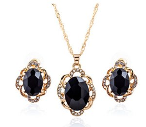 Wholesale hot sale alloy OVAL blue black gem stone gold earrings necklace sets jelwery sets with rhinestone fashion personality jelwery