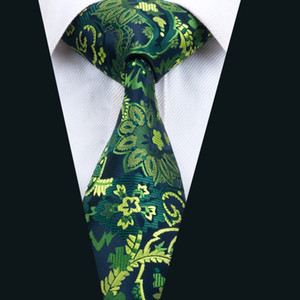 Classic Silk Tie Green Mens Ties Floral Necktie Jacquard Woven Business Wedding Meeting Party Prom Free Shipping D-1444