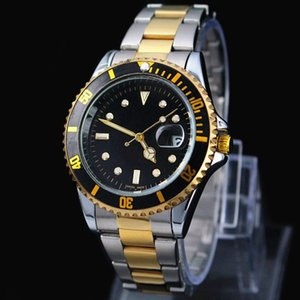 Wholesale 2017 Famous design Fashion Men Big Watch Gold silver Stainless steel High Quality Male Quartz watches Man Wristwatch business classil clock