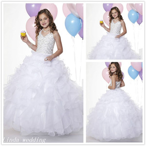 Wholesale White Colour Girl s Pageant Dress Princess Ball Gown Organza Beaded Party Cupcake Prom Dress For Young Short Girl Pretty Dress Little Kid