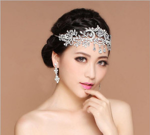 Wholesale 2017 Bling Silver Wedding Accessories Bridal Tiaras Hairgrips Crystal Rhinestone Headpieces Jewelrys Women Forehead Hair Crowns Headbands