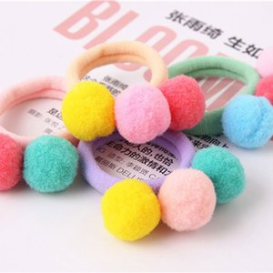 Wholesale pom pom soft ball hair bands for kids little girls hair accessories pony tailer holder hair rope elastic