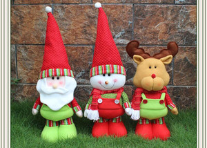 Wholesale Christmas Ornament Gifts Cute Santa Claus Doll kids baby cartoon plush Toys new year Decoration Festive Party Supplies